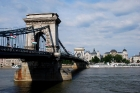 Chain Bridge crossing the Danube River in Budapest. It was the first permanent bridge across the Danube in Budapest